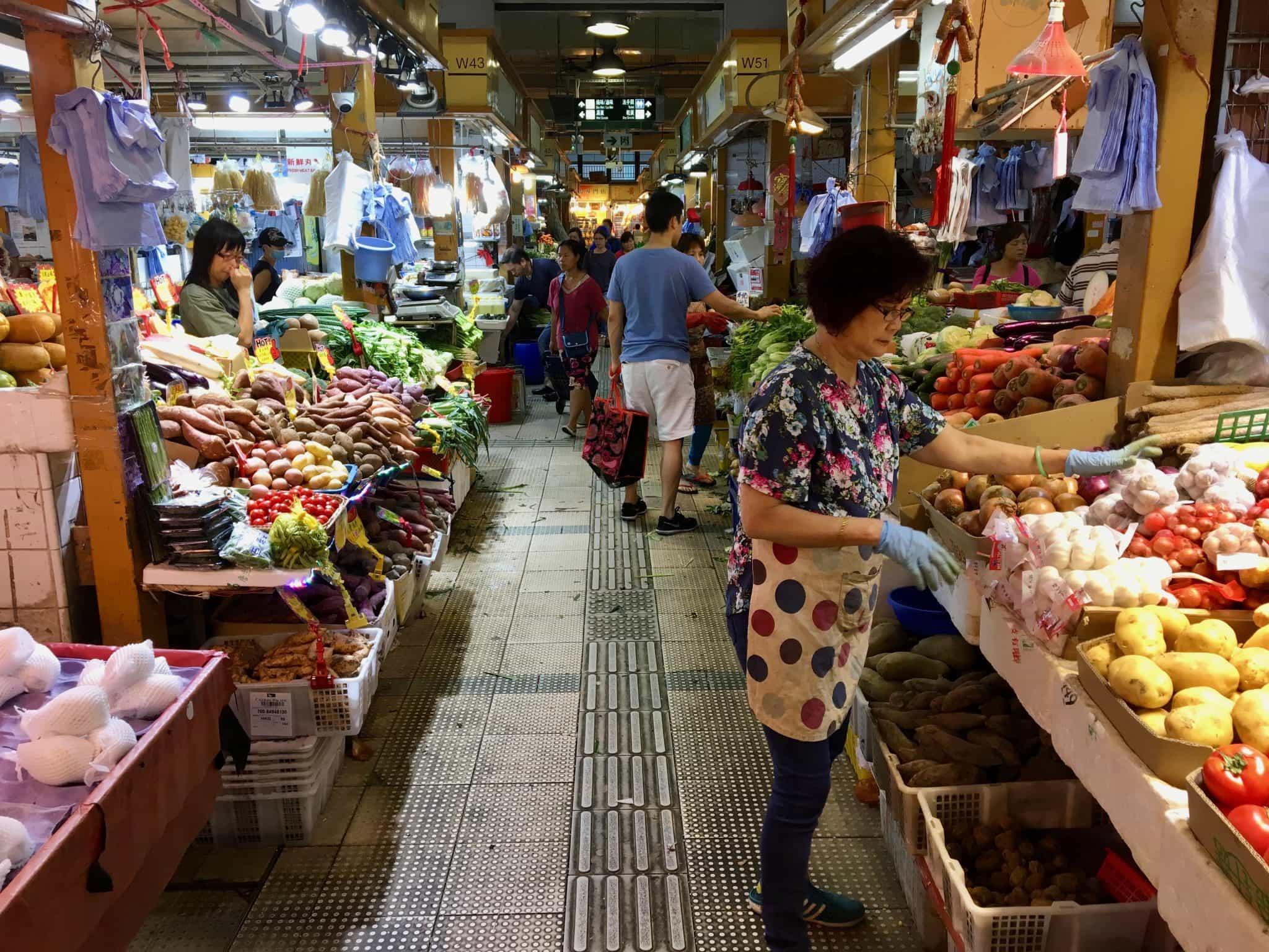 Food In Hong Kong Clean Vegetables Means Wet Floors