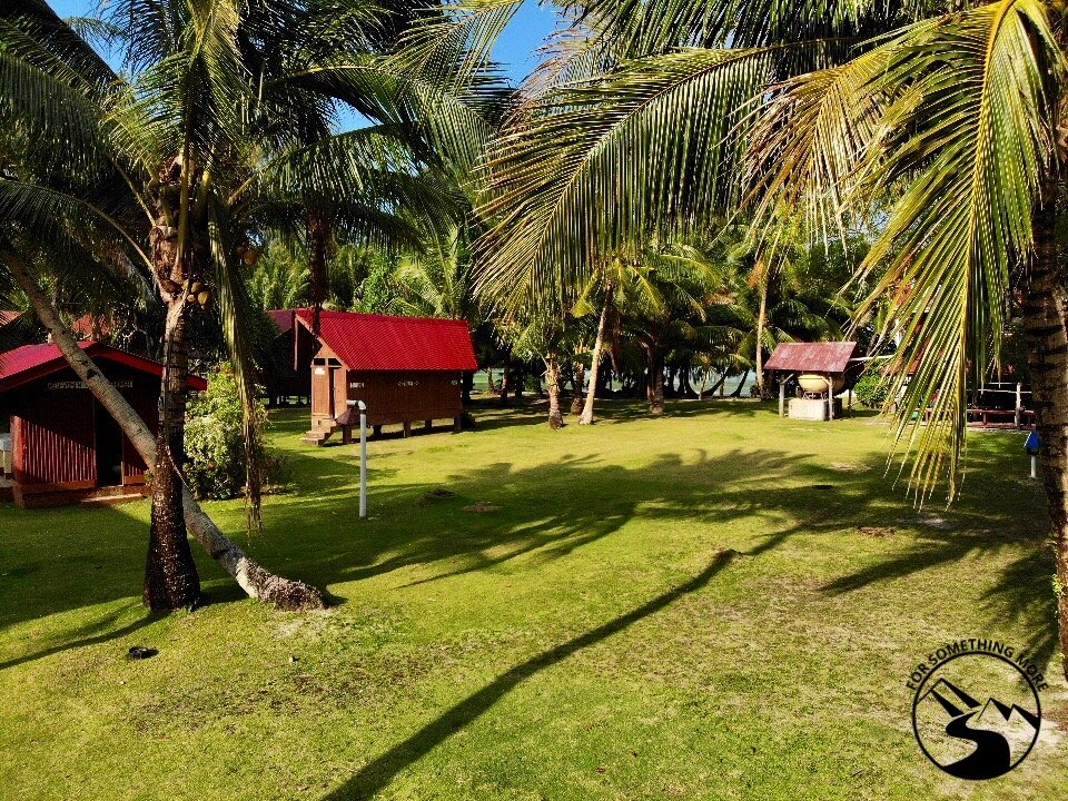 The Carp Island Resort in Palau has a nice central grassy area