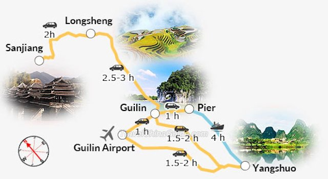 A map of the Guilin and Yangshou China area