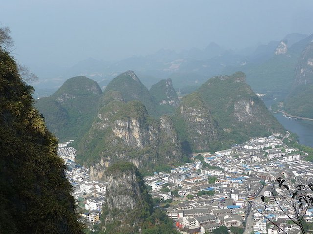 The view from atop the Yangshuo TV Tower when we traveled from Hong Kong to Guilin for a Weekend