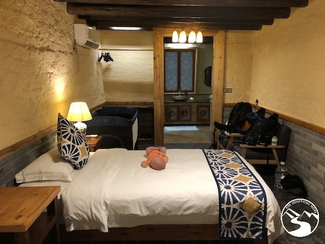 Our room at the Yangshuo Secret Garden Boutique Hotel while we were traveling from Hong Kong to Guilin for a Weekend