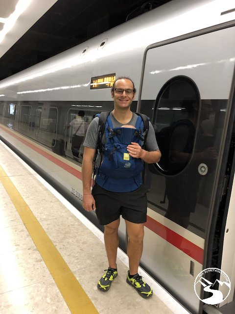 Standing outside of Hong Kong's bullet train on our way to Guilin for a weekend