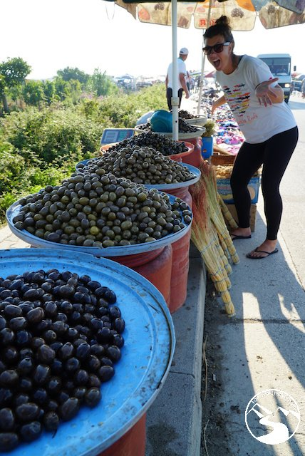 On our road trip in Albania we at a lot of fresh and inexpensive olives