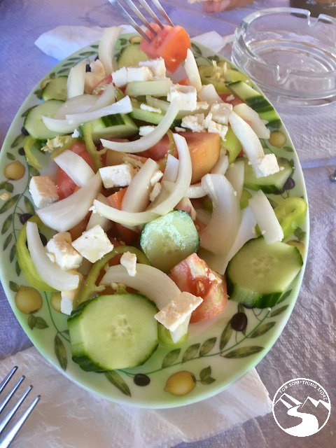 A salad we ate on our road trip in Albania