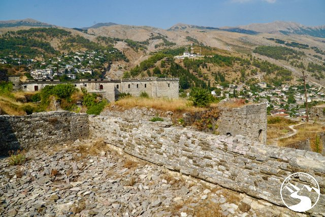 The Gjirokaster Castle has large outer walls in Albania