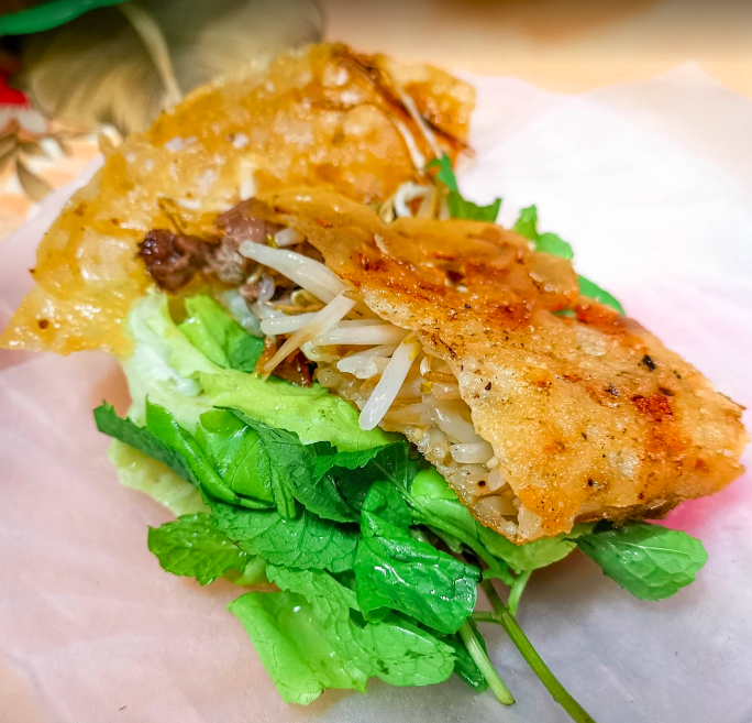 Banh Xeo is a Hanoi must try food