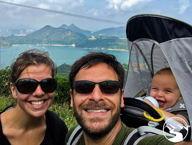 a happy family portrait while hiking Tung Lung Island
