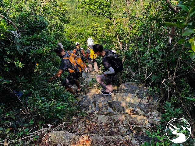 a steep stretch of trail you'll descend if you hike Tung Lung Island