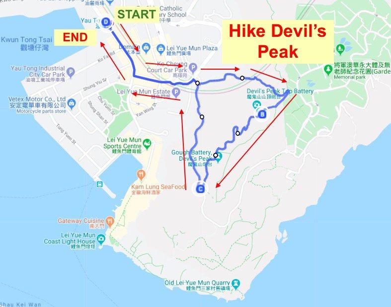 hike Devil's Peak route map