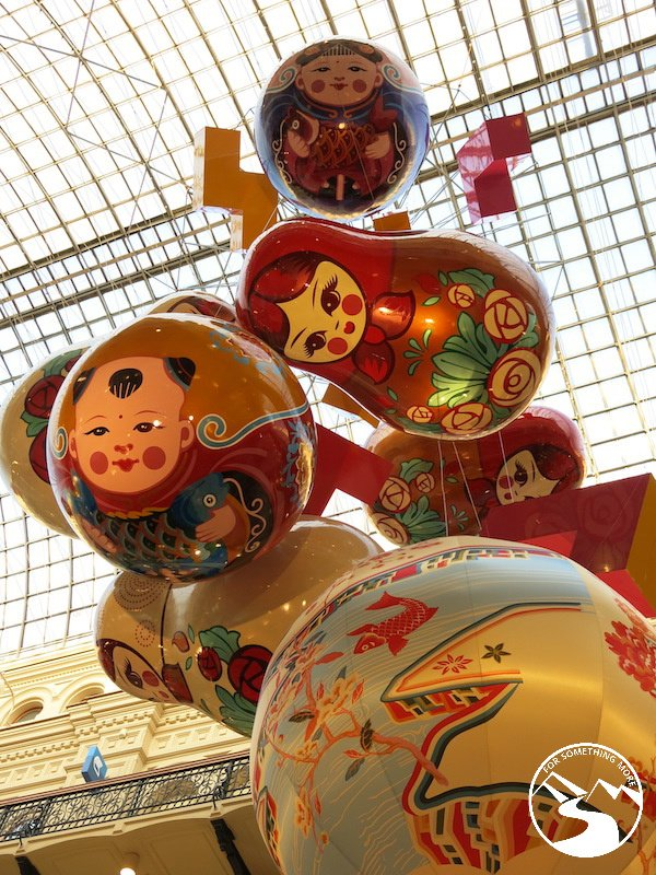Russian Dolls tumbling from the ceiling in GUM