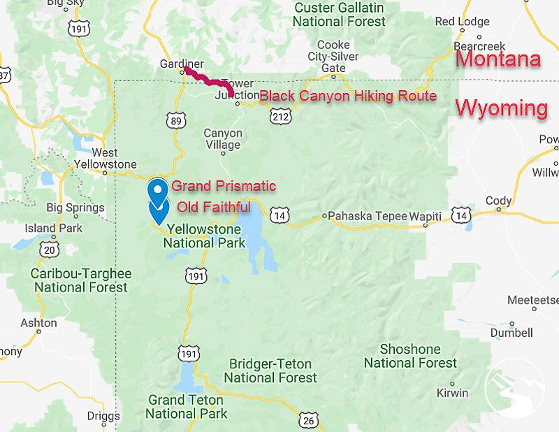 Our backpacking route in Yellowstone