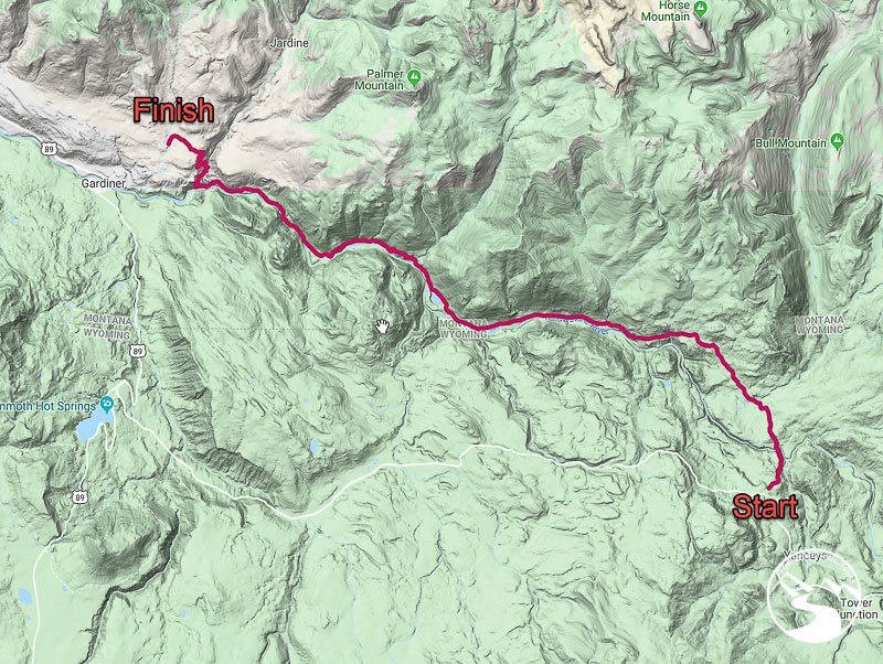 The topographic map of our backpacking route