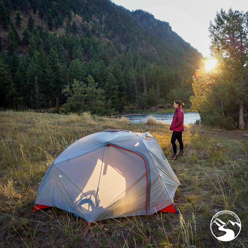 A woman at a backcountry camping area in Yellowstone