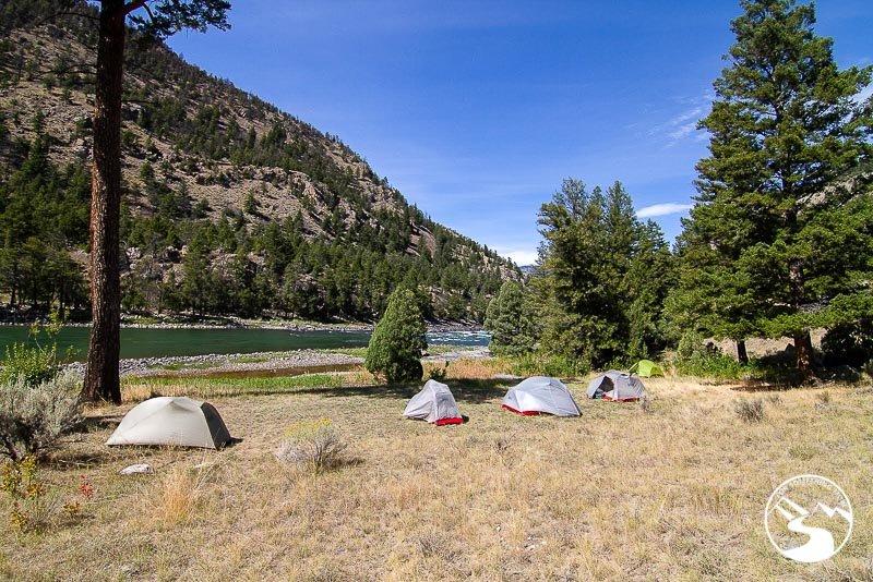 tents near a river