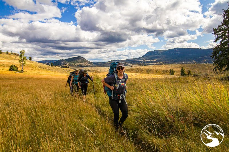 Backpacking in the grass of Yellowstone National Park