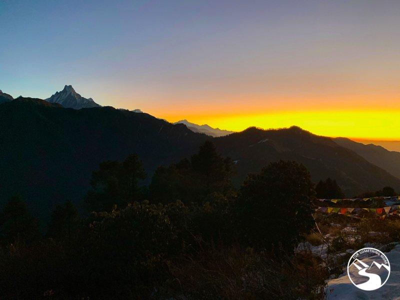 a sunrise view from Ghorepani Poon Hill trek