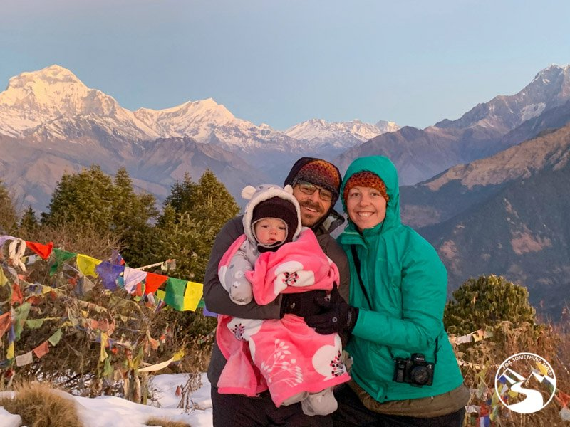 family photo at the end of a Ghorepani Poon Hill trek