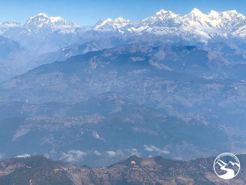 A view of the Himalayas from the airplane ride on our Ghorepani Poon Hill Trek