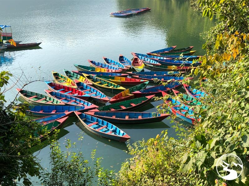 boats floating in a lake on a sunny day