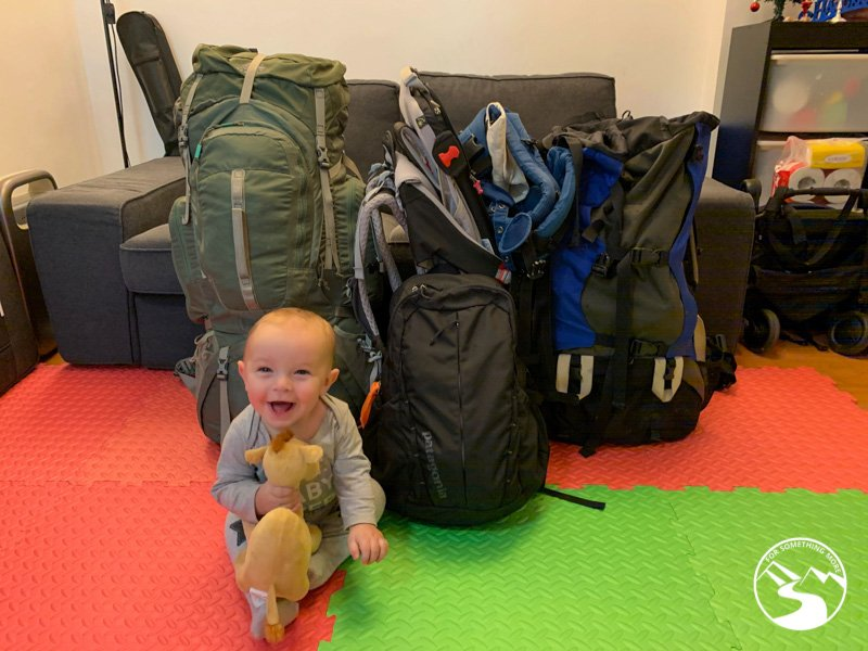 hiking backpacks are packed