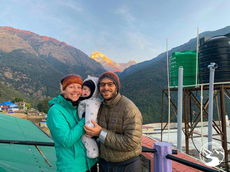 A family on their Ghorepani Poon Hill Trek