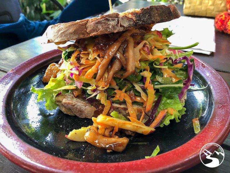 Grilled mushroom sandwich on homemade sourdough bread