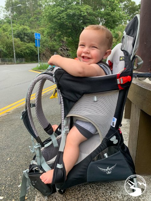 baby in osprey hiking backpack