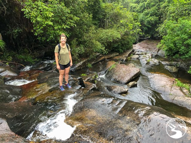 woman stream climbing