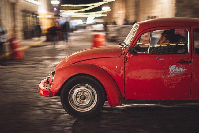 red taxi in Oaxaca