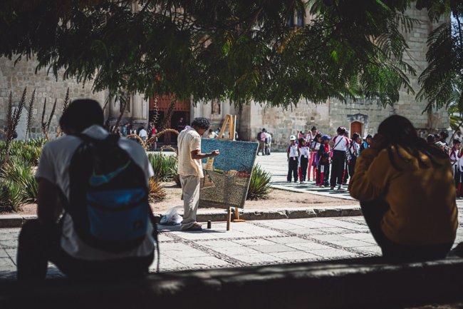 things to do in oaxaca include street art in Zócalo