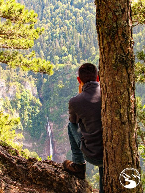 Taking a picture of Skakavac Waterfall in Sutjeska National Park