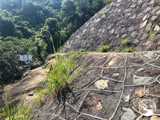 walk across the rock wall