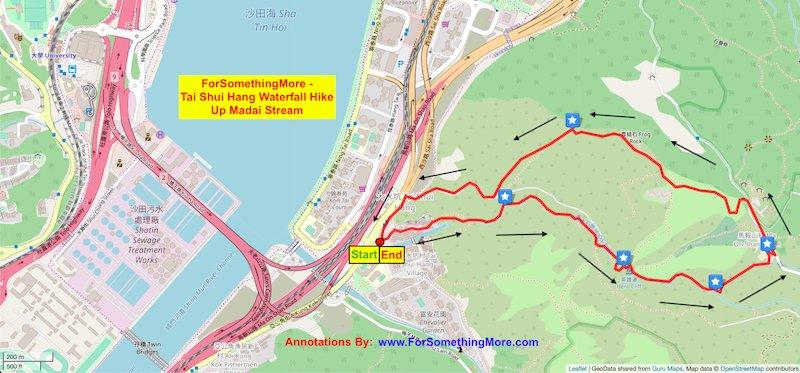 Tai Shui Hang Waterfall hike up Madai Stream route map