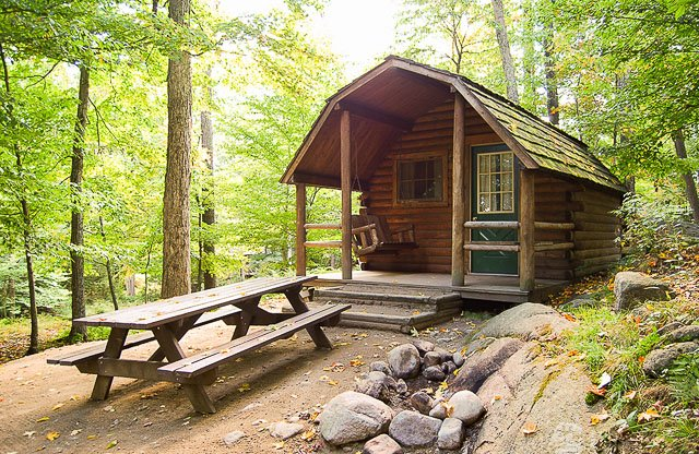 A cabin site at the Old Forge Camping Resort