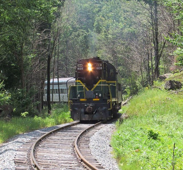 A train on the The Adirondack Scenic Railway