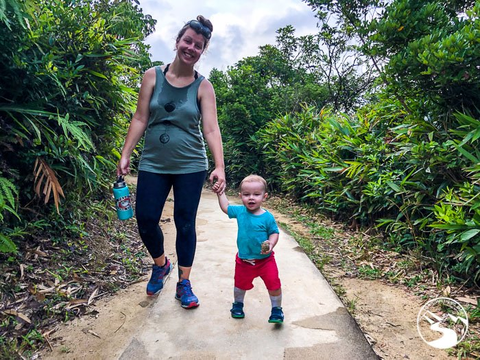 pregnant mom hiking with toddler