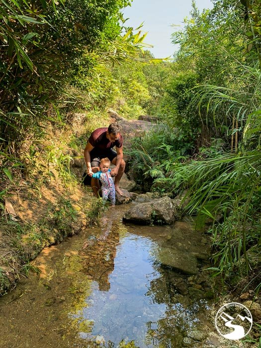 boy exploring a stream with his father