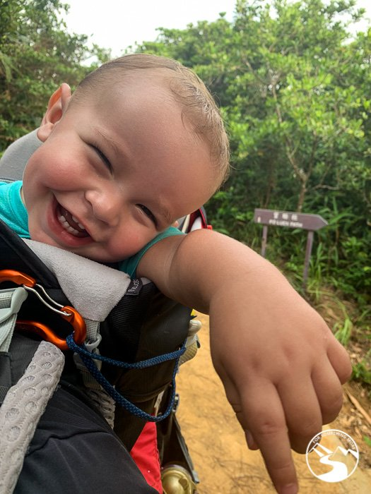 baby in hiking backpack
