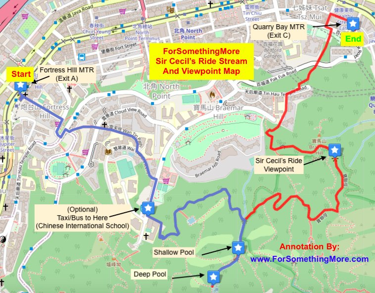 Map for Sir Cecil's Ride Stream and Viewpoint