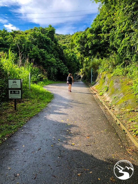 pregnant woman hiking uphill to Ho Pui Reservoir Family Walk