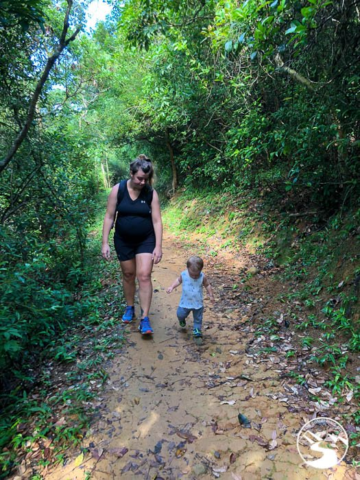 Mother and son hiking.