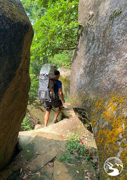 father hiking with baby backpack