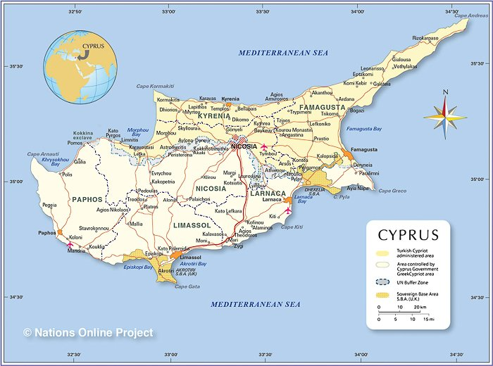 political map of Cyprus for a Cyprus Family Holiday