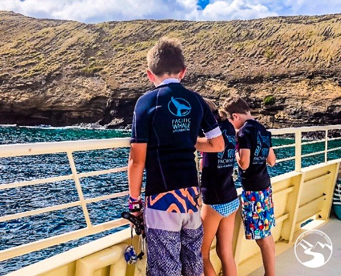 children preparing to do Molokini Snorkeling with the pacific whale foundation