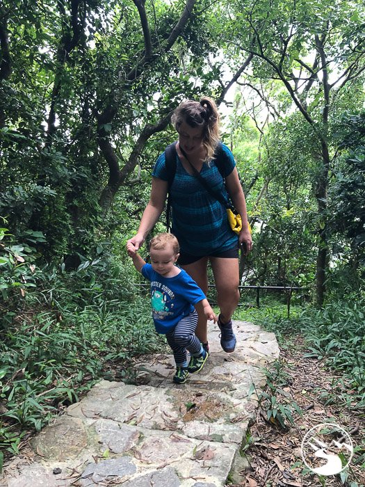 boy and mother hiking up stairs