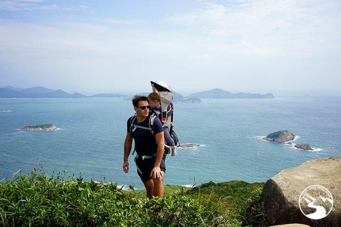man wearing osprey poco plus child carrier on Lung Ha Wan Country Trail (龍蝦灣)