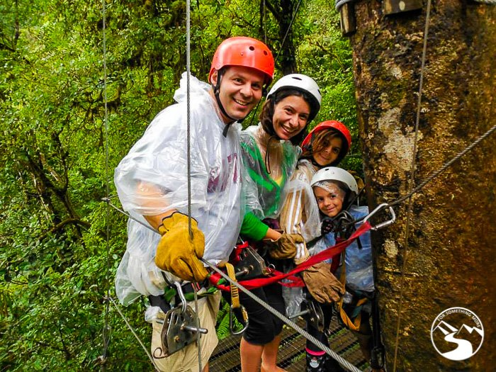 family photo while zip-lining on a Road Trip Costa Rica