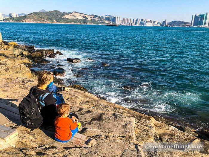 family enjoying coastal view