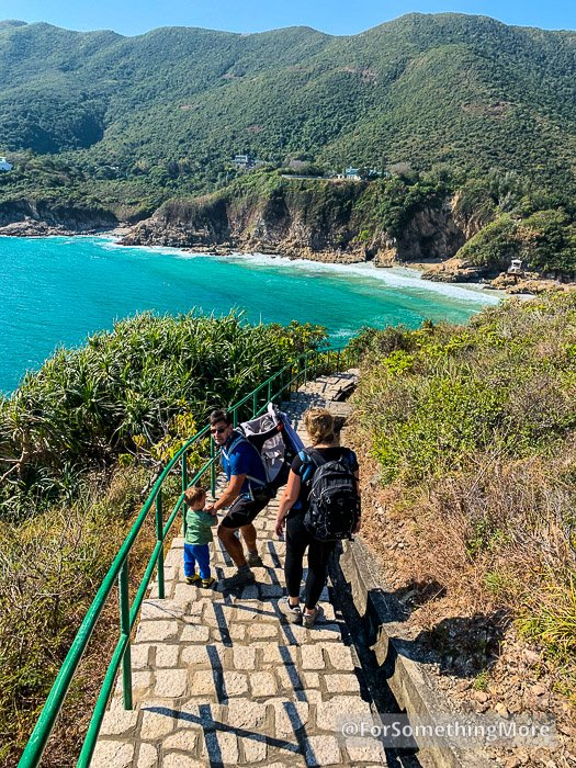 man wearing baby backpack on the Leaping Dragon Walk (龍躍徑)