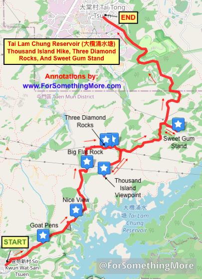 map of Tai Lam Chung Reservoir (大欖涌水塘 千島湖) Thousand Island Hike difficult route